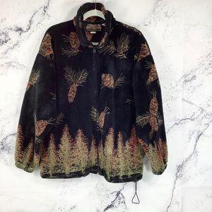 Vtg Cobblestone Canyon pine cones sherpa jacket
